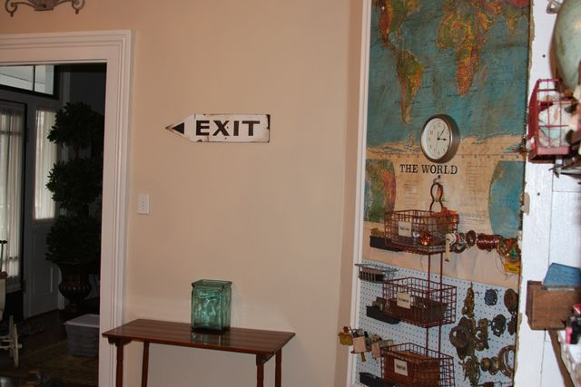 Vintage exit sign found at the flea market.  Functional too...since it points to the door!